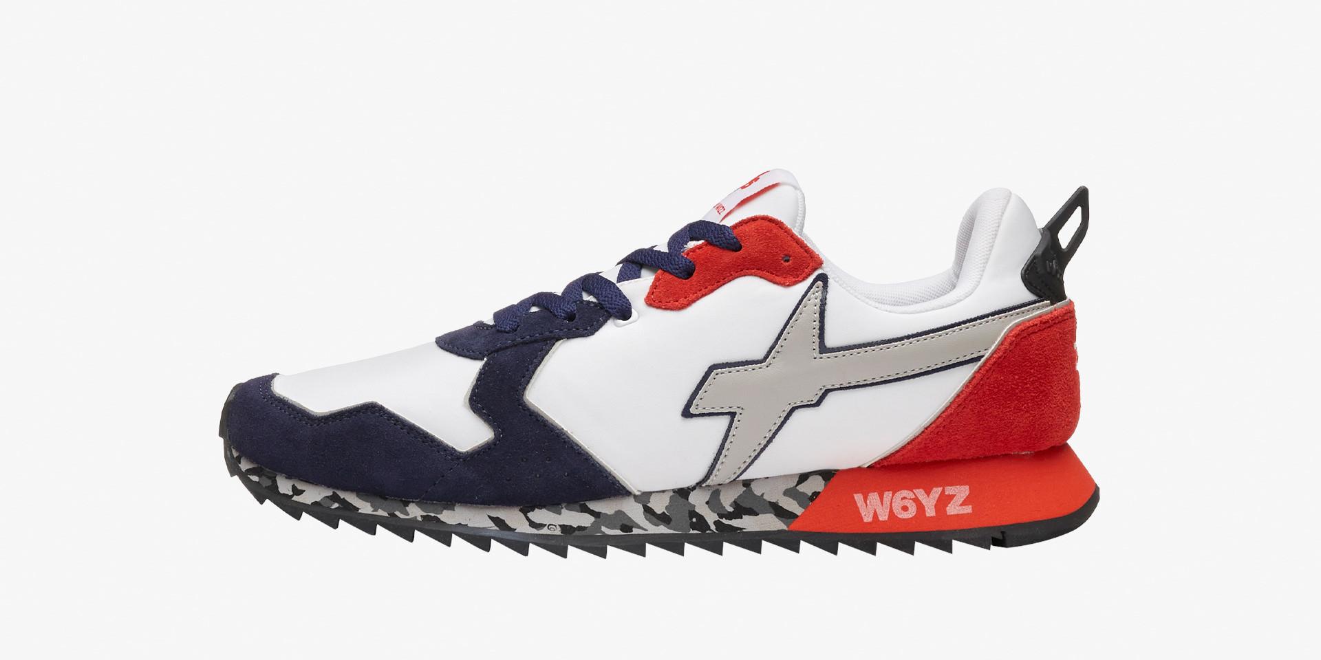 JET-M. - Sneaker con fondo ultraleggero - Bianco-Blu-Rosso