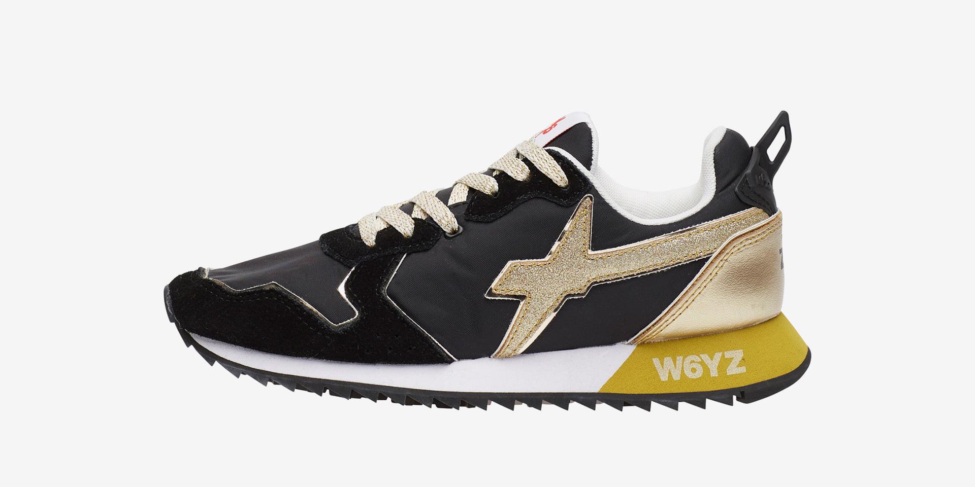 JET-W. - Sneaker in tessuto tecnico e suede - Nero-Platino