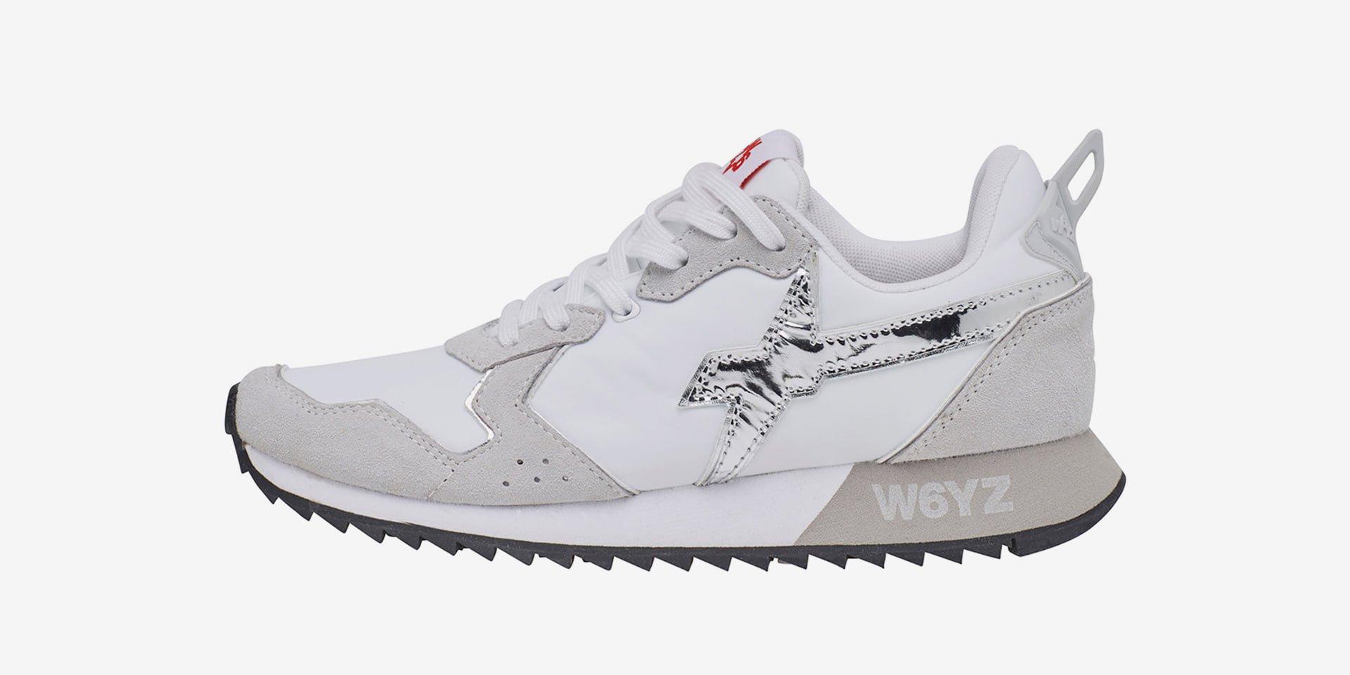 JET-W. - Sneaker in  tessuto tecnico e suede - Bianco-Argento