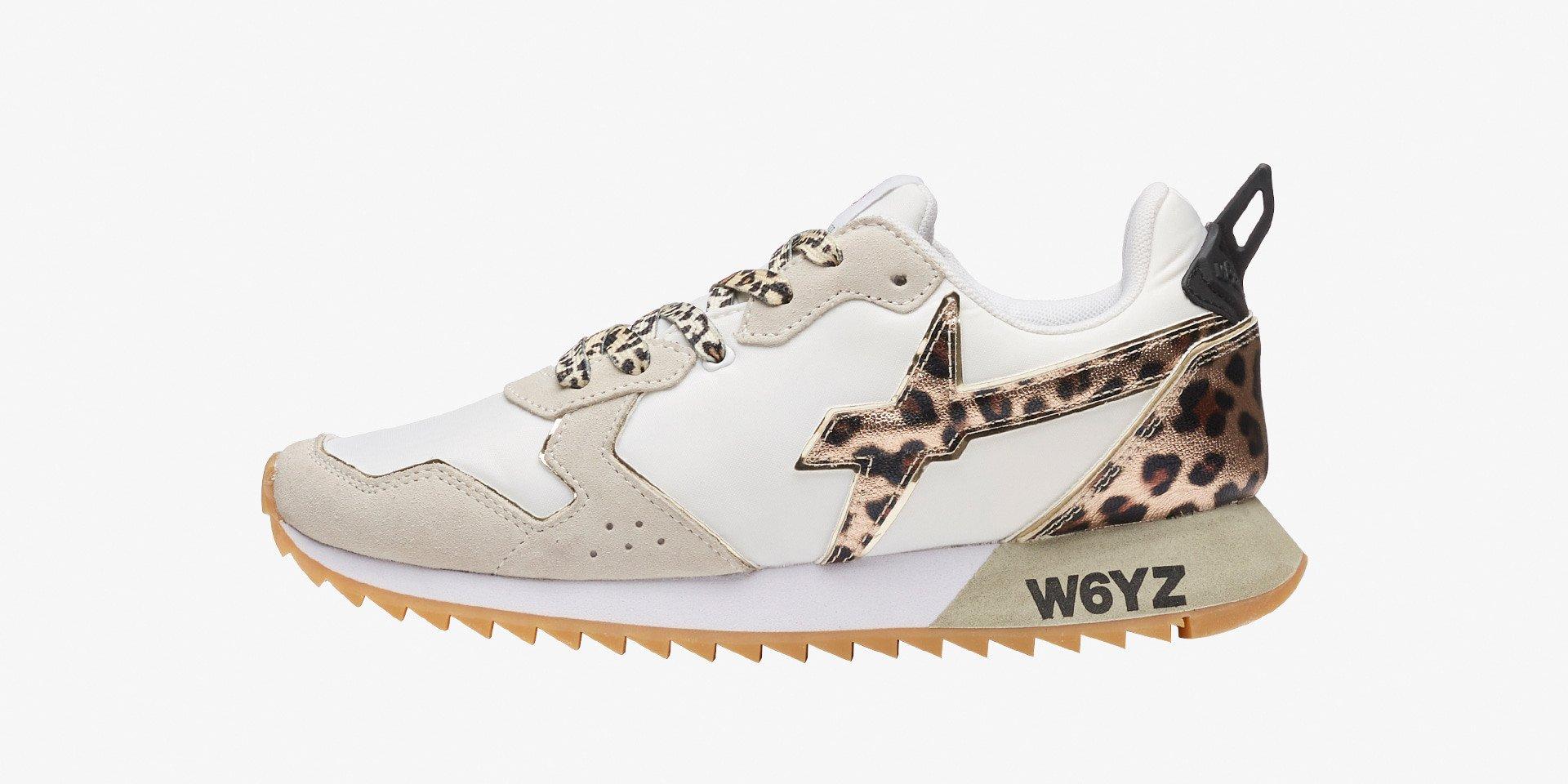 JET-W. - Sneaker in tessuto tecnico con inserti animalier - Bianco-Leopard