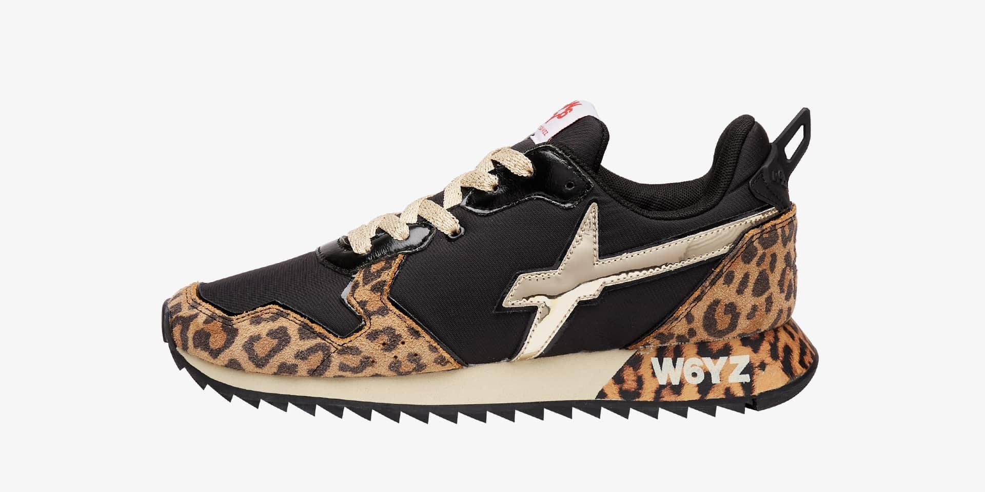 JET-W. - Sneaker in tessuto tecnico e suede animalier - Nero