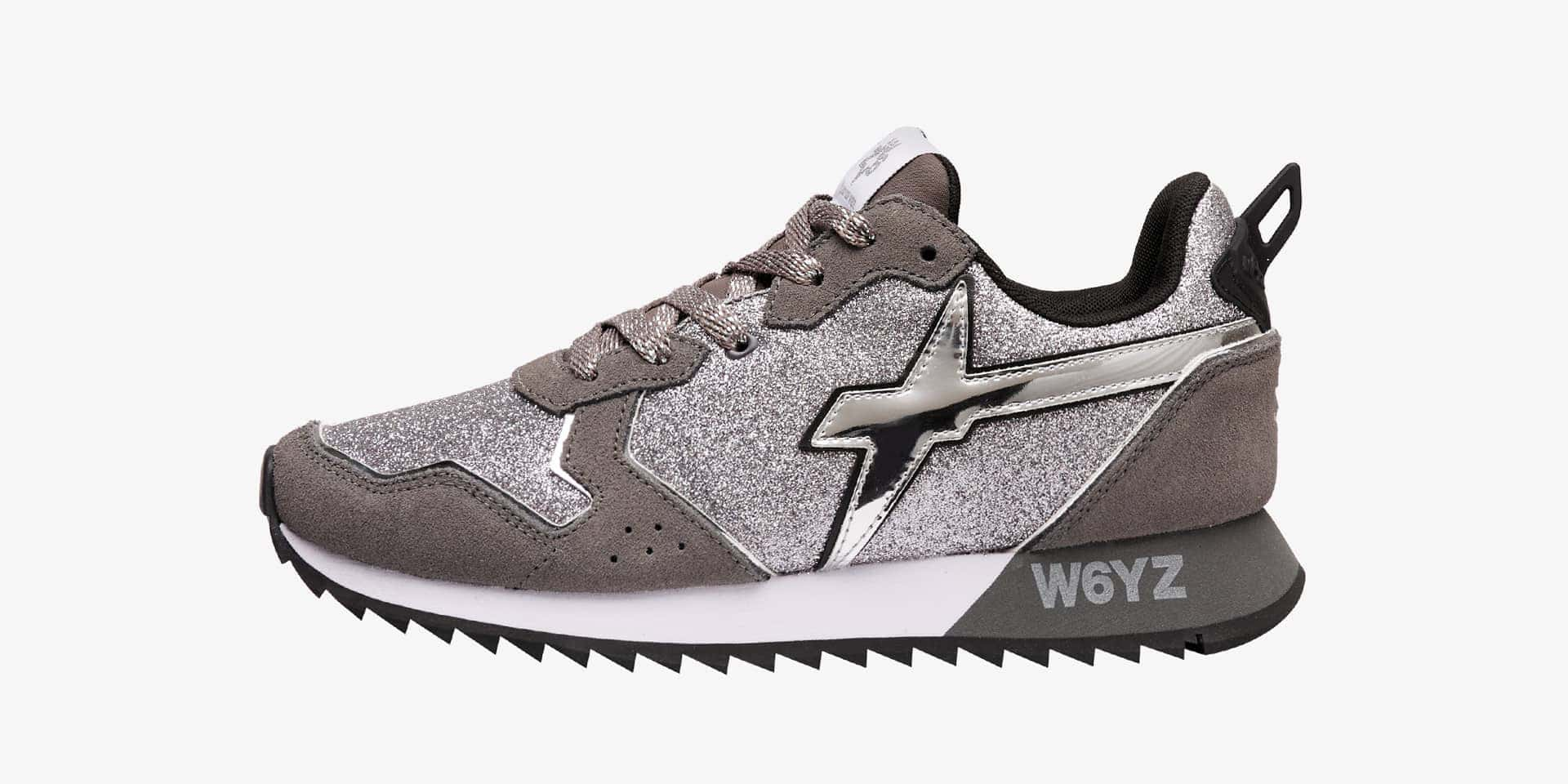 JET-W. - Sneaker in suede e glitter - Argento