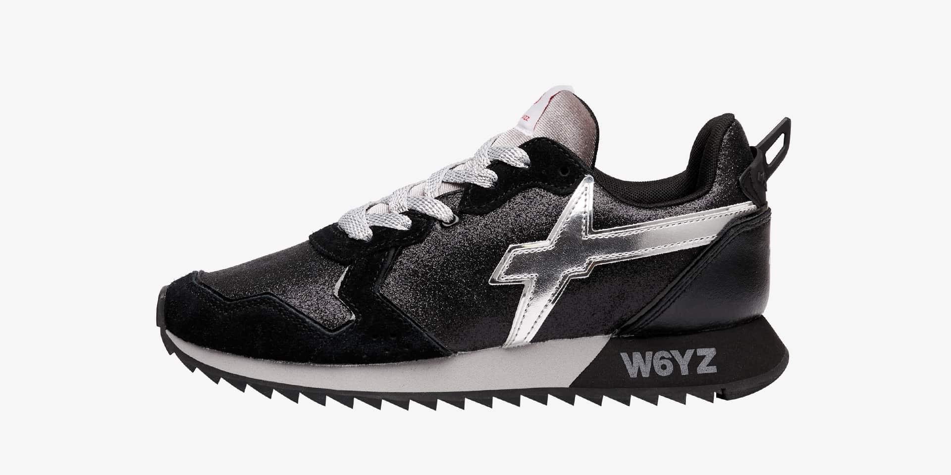 JET-W. - Sneaker in suede e glitter - Nero