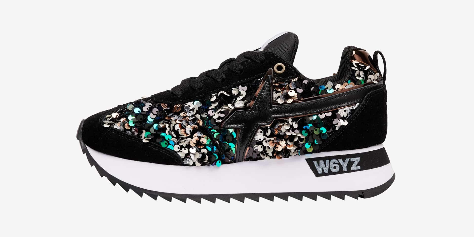 KIS-W. - Sneaker in suede e paillettes - Nero/Multicolore