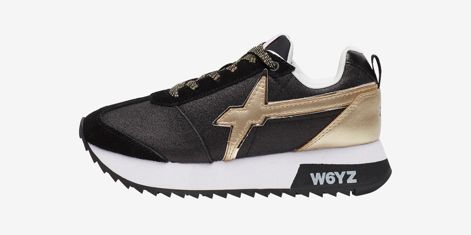 KIS-W. - Sneaker in tessuto tecnico glitterato e suede - Nero-Platino