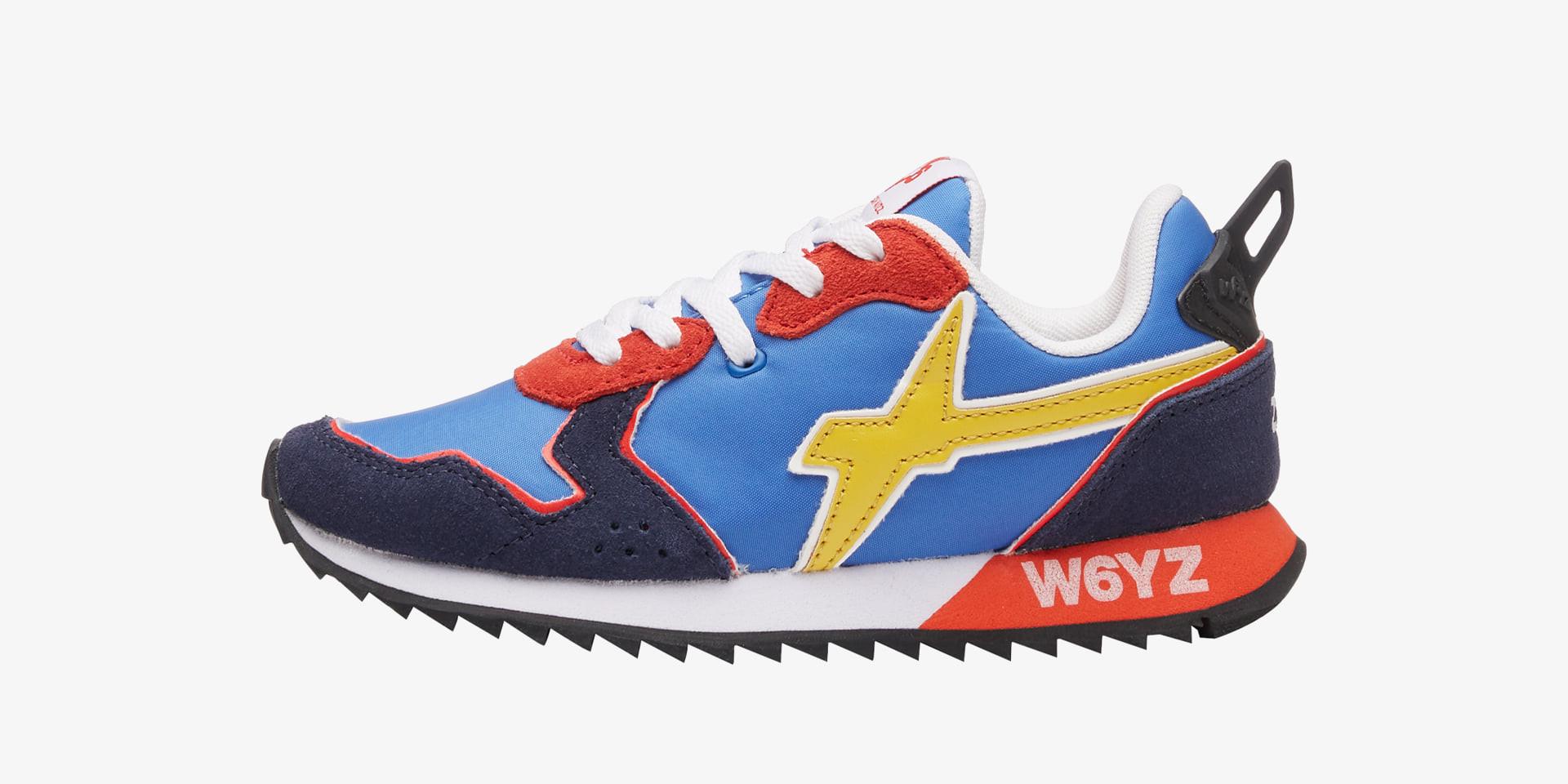 JET-J - Sneaker in tessuto e pelle - Blu-Azzurro-Rosso