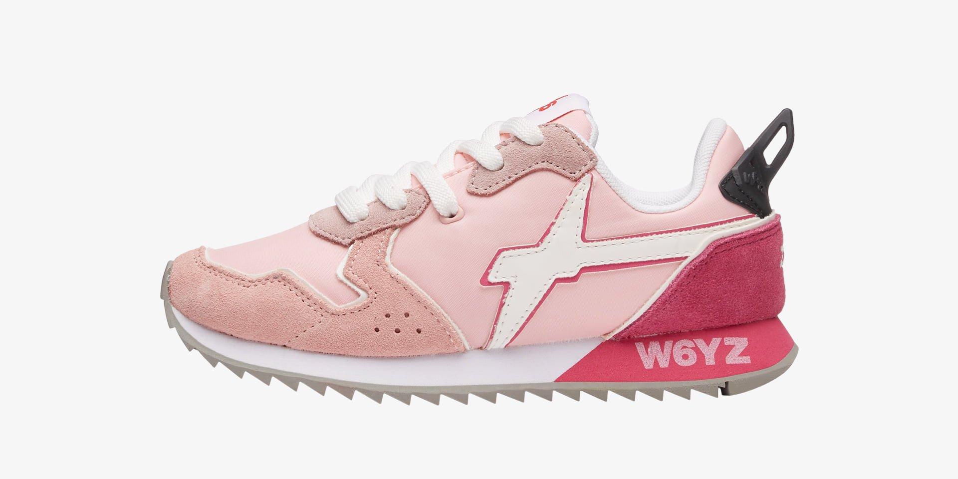 JET-J - Sneaker in tessuto e pelle - Rosa-Bianco