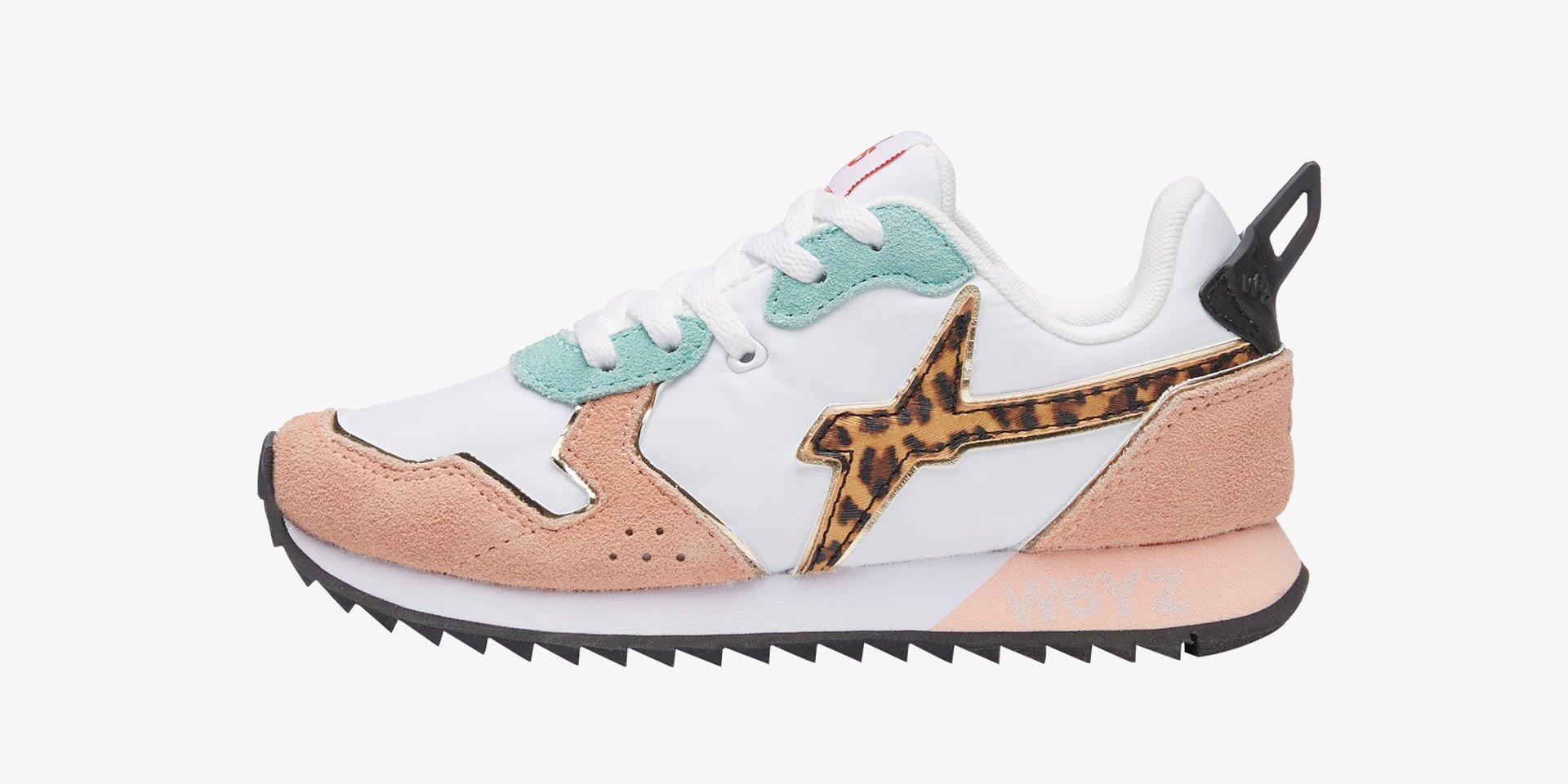 JET-J - Sneaker in pelle con inserti animalier - Rosa-Bianco-Celeste