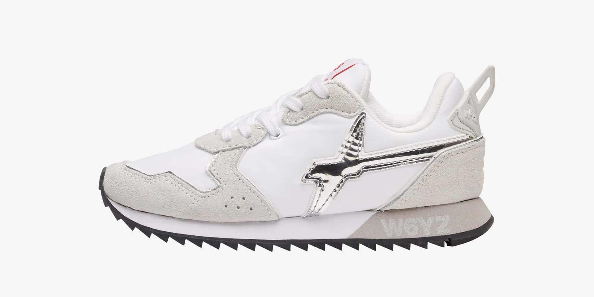 JET-J - Sneaker con logo a specchio - Bianco-Argento
