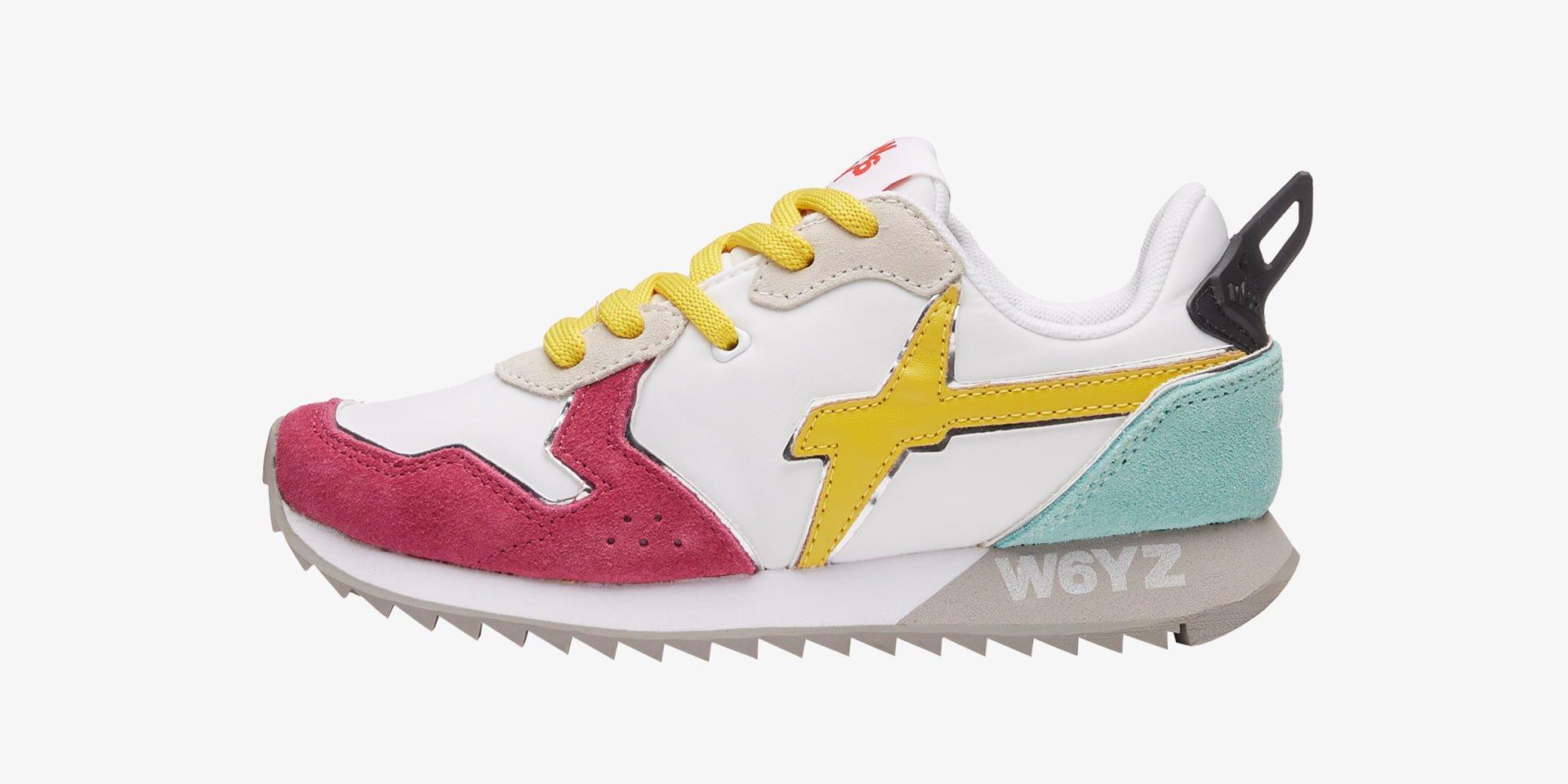 JET-J - Sneaker in tessuto e pelle - Bianco-Fuxia-Giallo