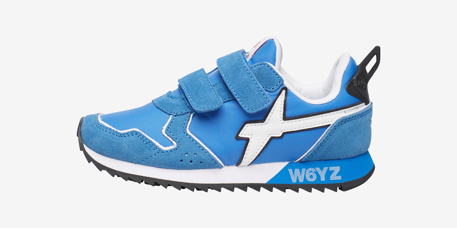 JET VL-J - Sneaker in tessuto e suede - Azzurro-Bianco