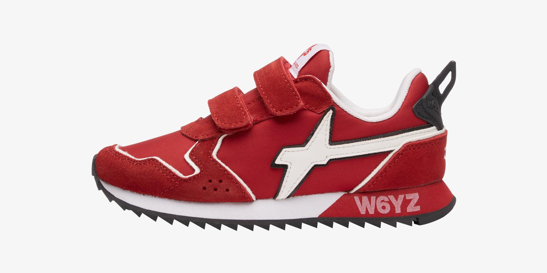 JET VL-J - Sneaker in tessuto e suede - Rosso-Bianco