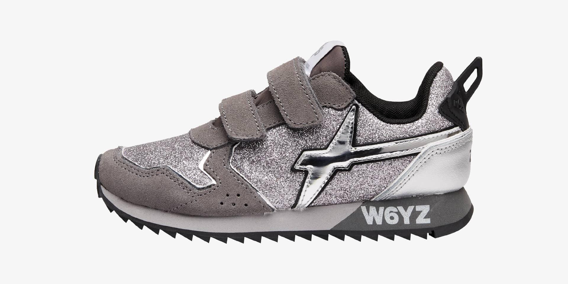 JET VL-J. - Sneaker in tessuto glitter e suede - Grigio/Argento