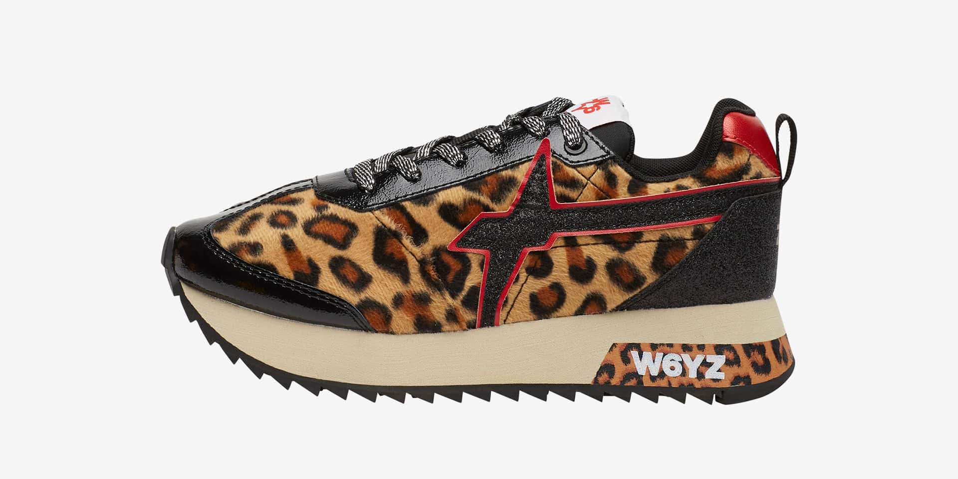 KIS-W. - Sneakers in pelle e tessuto - Nero/Leopardo