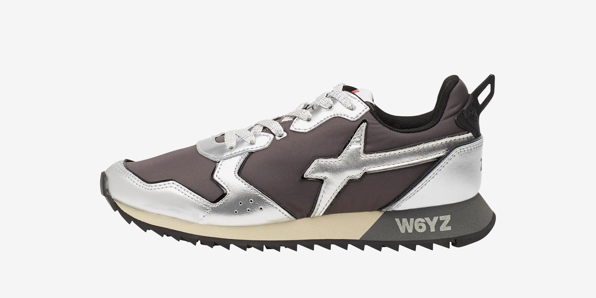 JET-W. - Sneakers in pelle e tessuto - Argento