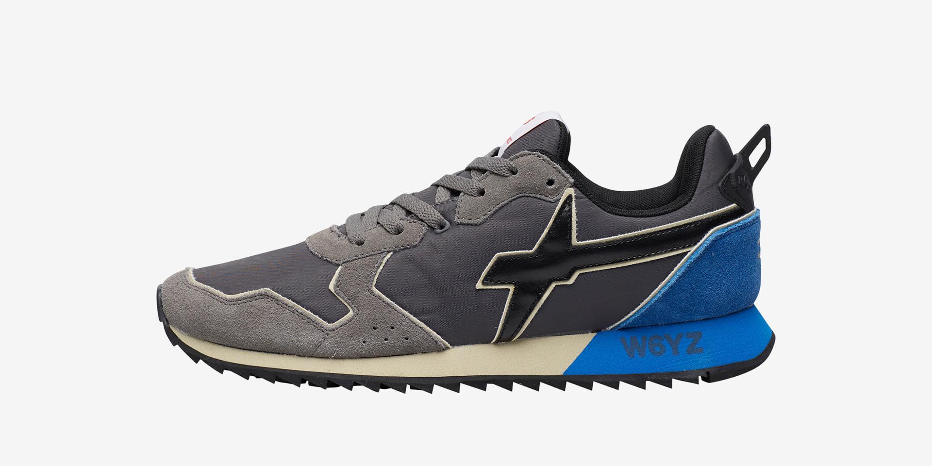JET-M. - Sneaker in suede e tessuto tecnico - Antracite/Azzurro/Nero