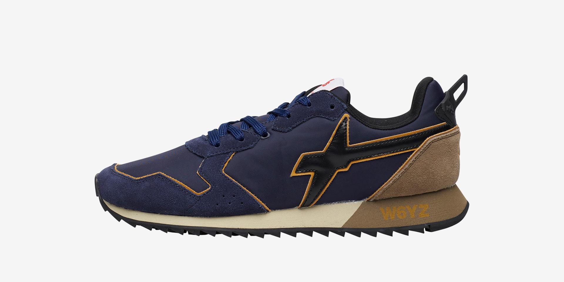 JET-M. - Sneaker in suede e tessuto tecnico - Navy/Nero