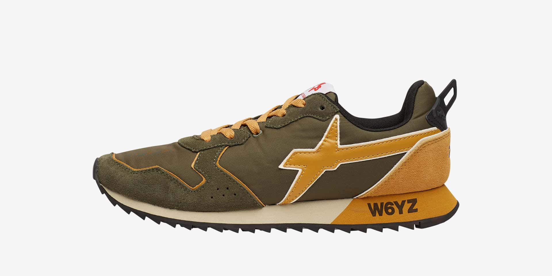 JET-M. - Sneakers in pelle e tessuto - Militare/Zucca