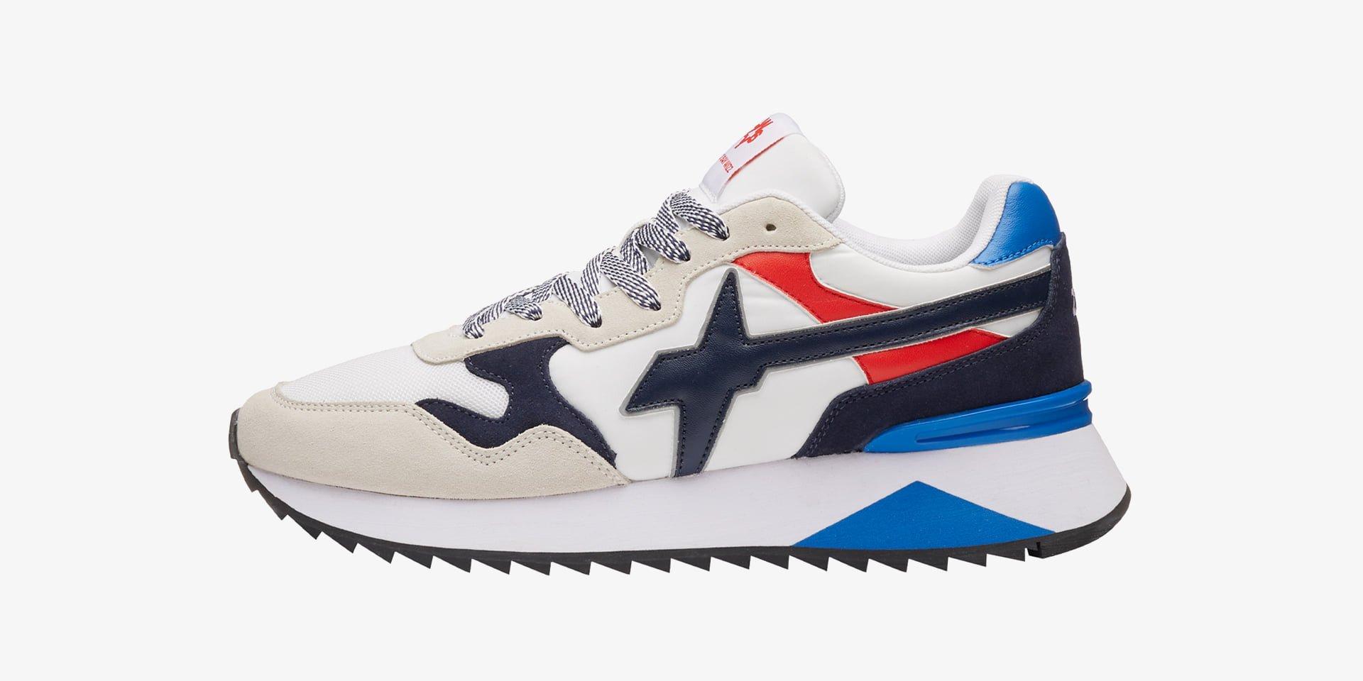 YAK-M. - Sneaker in tessuto e pelle - Bianco-Blu