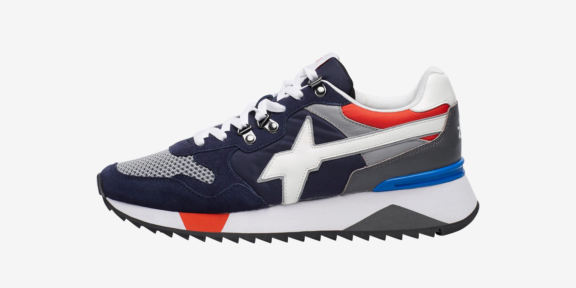 YAK-M. - Sneaker in suede, mesh e tessuto tecnico - Navy/Grigio