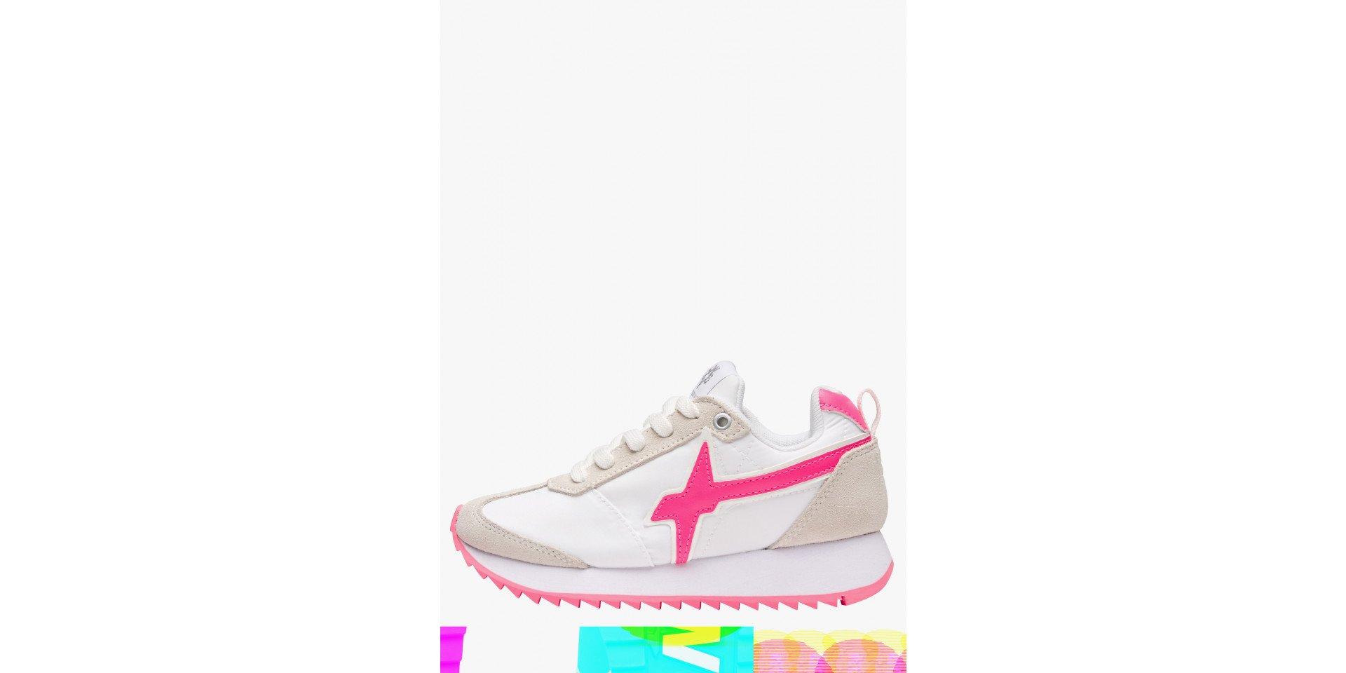 KIS J - Sneaker con dettagli fluo - Bianco-Fuxia