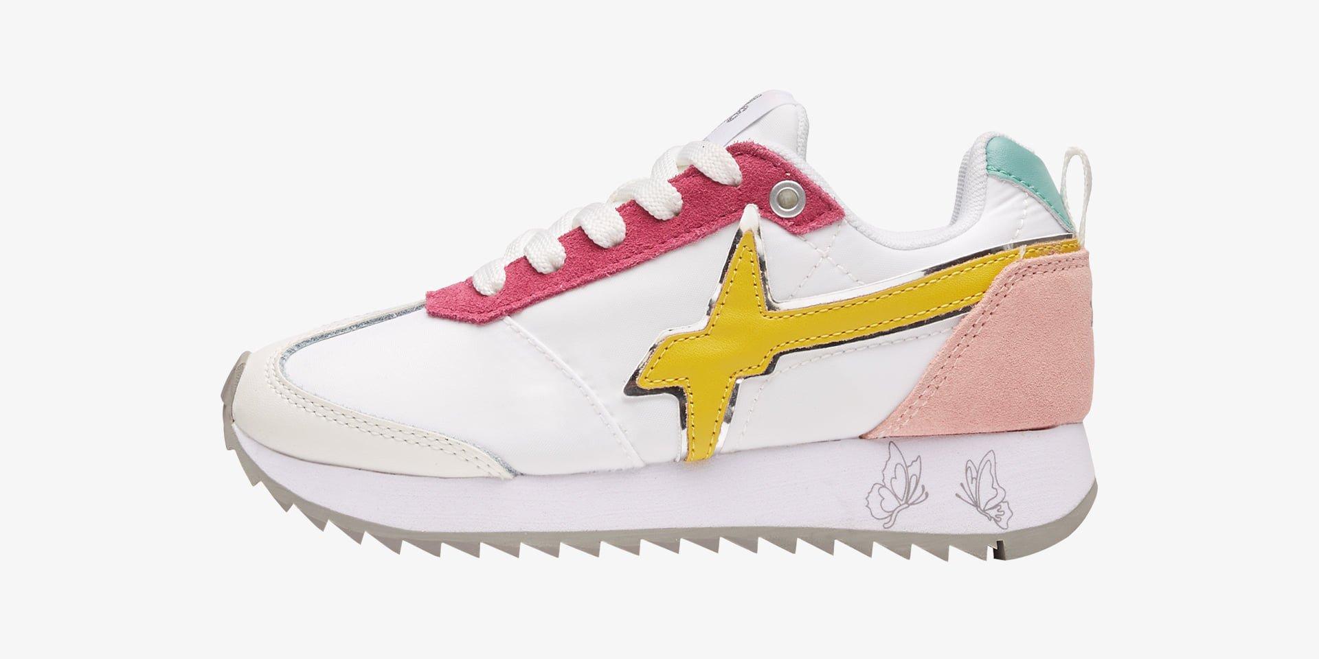 KIS J. - Sneaker in tessuto e pelle - Bianco-Giallo-Fuxia
