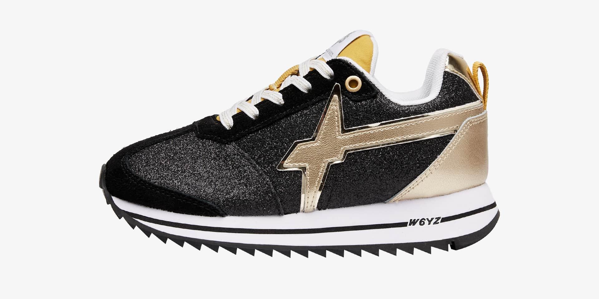 KIS J. - Sneaker in tessuto glitter e suede - Nero/Platino