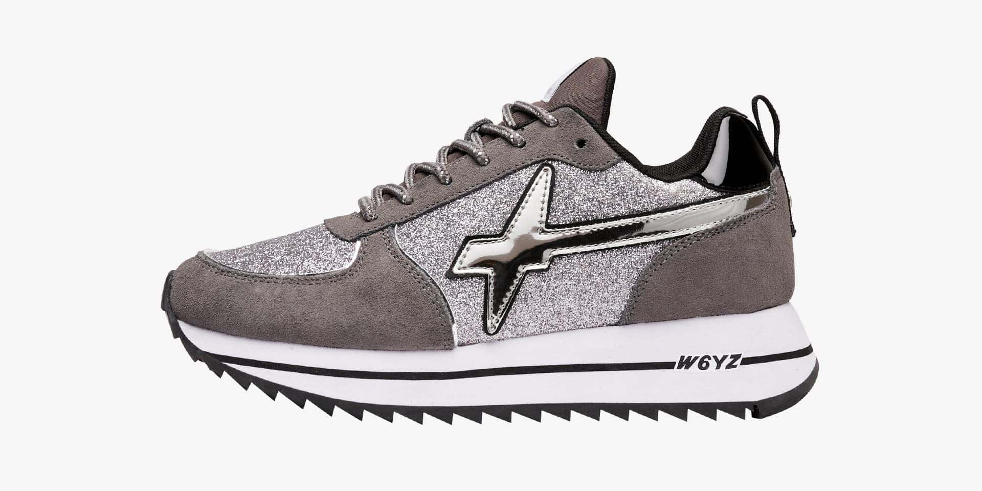 HER-W. - Sneaker in suede e glitter - Grigio