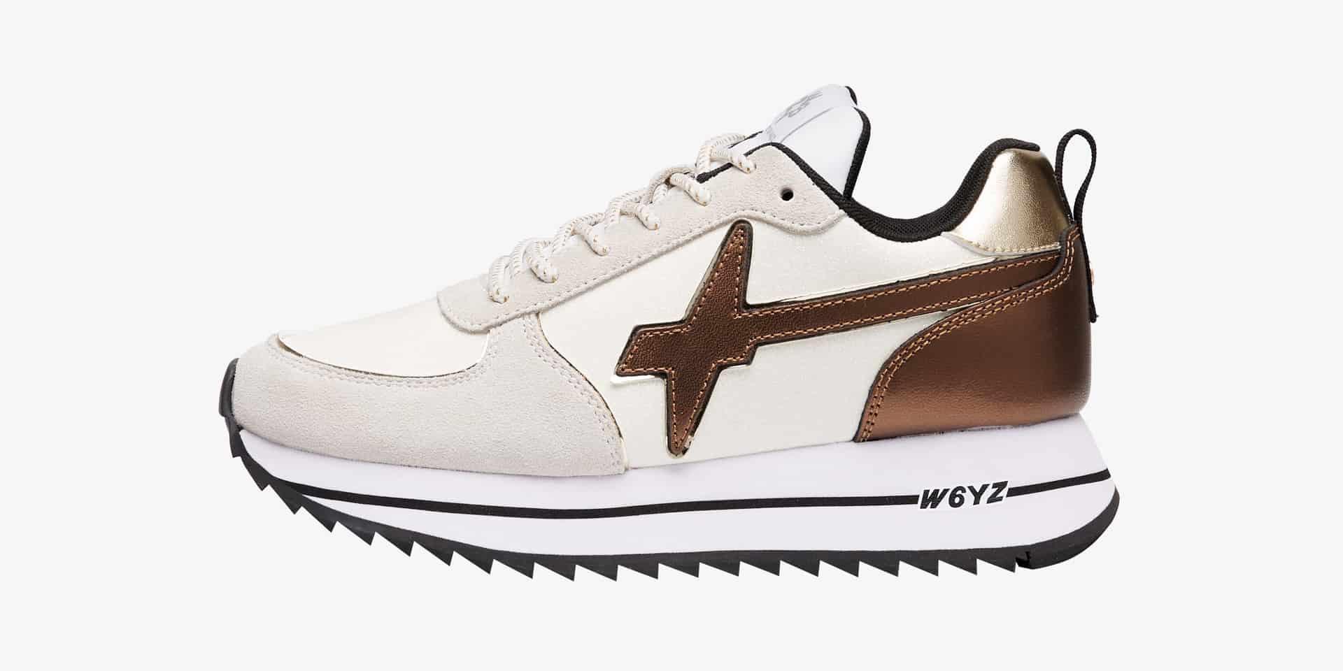 HER-W. - Sneaker in suede e glitter - Bianco