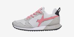 JET-W. - Sneakers in pelle e nylon - Grigio/Rosa