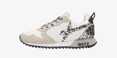 JET-W. - Sneaker in tessuto tecnico con inserti animalier - Bianco-Grigio-Leopard