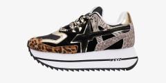 Sneaker in tessuto tecnico e stampe animalier Multicolore-DEB-W.