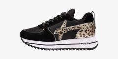 Sneaker in suede e tessuto tecnico Nero-HER-W.